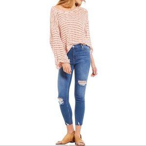 Free People - Frayed Hem Ankle Skinny Jeans - Blue